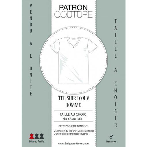 """Patron Tee-shirt homme col """"V"""" - Vendu à la taille (Au choix: du XS au 3XL)"""