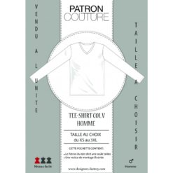 """Patron Tee-shirt homme col """"V"""" ML - Vendu à la taille (Au choix: du XS au 3XL)"""