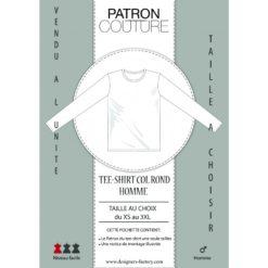 """Patron Tee-shirt homme col """"Rond"""" ML - Vendu à la taille (Au choix: du XS au 3XL)"""