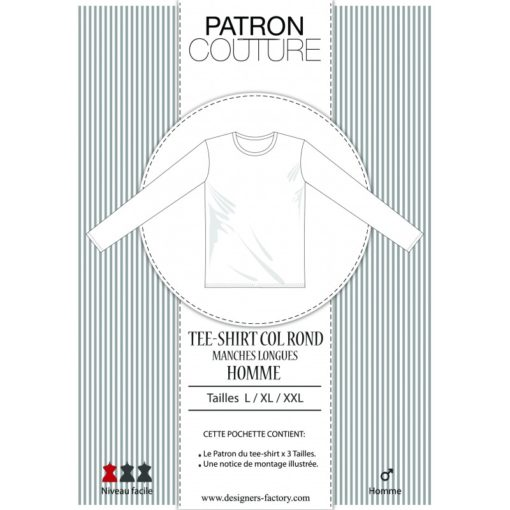 Patron Tee-shirt homme manches longues, col rond