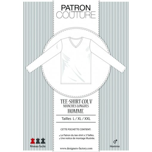 Patron Tee-shirt homme manches longues, col V