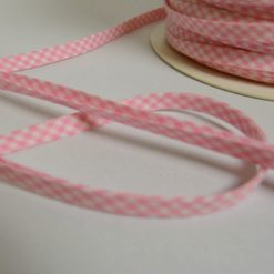 Biais replié 8mm en coton, motif vichy rose et blanc (au mètre)