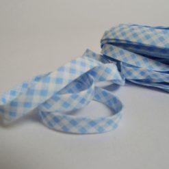 Biais replié 1cm en coton, motif vichy bleu et blanc (au mètre)