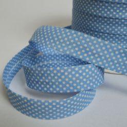 Biais replié 2cm en coton, motif pois blancs fond bleu (au mètre)