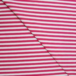 Tissu Jersey Coton-élasthanne Rayure Fushia - écru