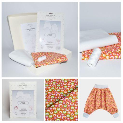 """Kit couture sarouel Simon - Du 1mois au 36mois - Patron + tissu & co -""""Orange & blanc"""""""