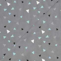 Tissu Jersey Coton-élasthanne triangles bleus