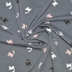 Tissu jersey coton-élasthanne imprimé chats