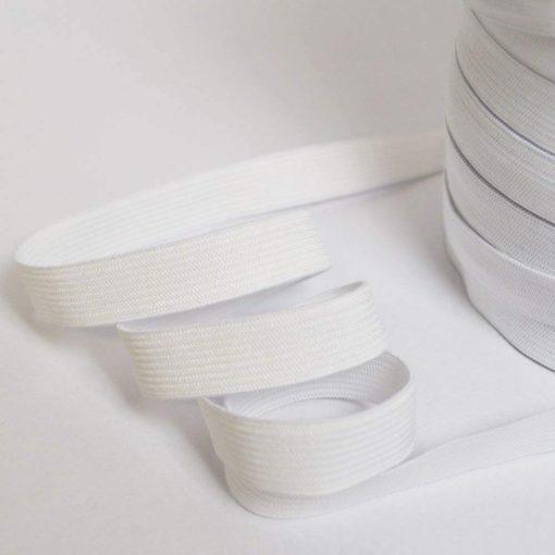 Ruban élastique blanc côtelé, largeur 15mm
