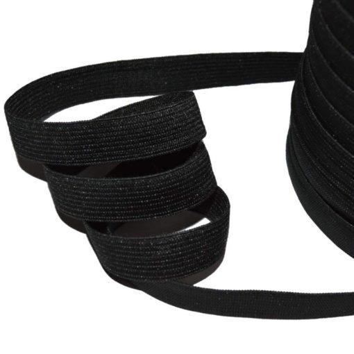 Ruban élastique noir côtelé, largeur 15mm
