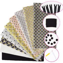 Lot de 7 Coupons Tissus imprimés + 2 Coupons Popeline de Coton