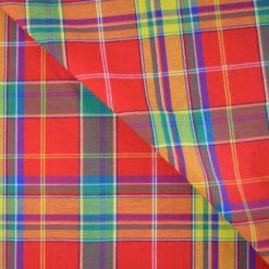 Véritable tissu madras coton rouge, vert et jaune