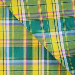 Véritable tissu madras coton vert, jaune, rose