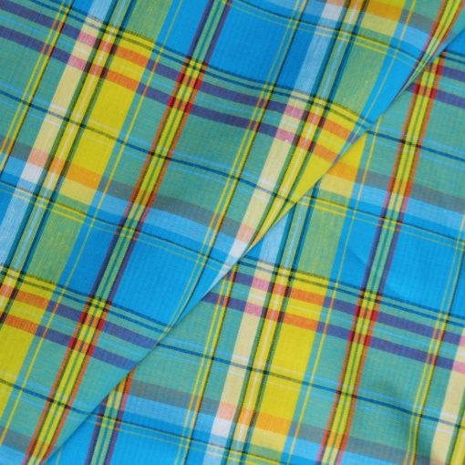 Véritable tissu madras coton turquoise, jaune et rouge