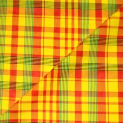 Tissu Madras 100% Coton Jaune-Rouge-Vert