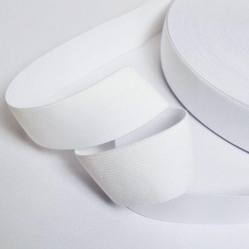 Ruban élastique Blanc côtelé, Largeur 40mm