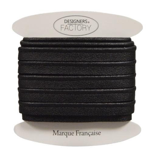 Passepoil simili cuir noir mat
