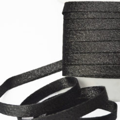 Biais lurex noir, (Effet anthracite) Biais couture noir avec fil lurex argent