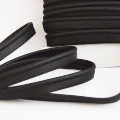 Passepoil en simili cuir noir souple mat, de belle qualité