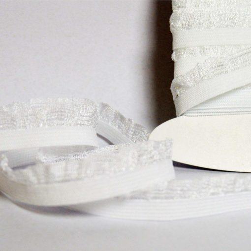 Picot élastique Blanc avec feston, Largeur 1cm