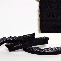Picot élastique Noir avec feston, Largeur 1,2cm