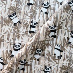 Tissu coton imprimé panda taupe