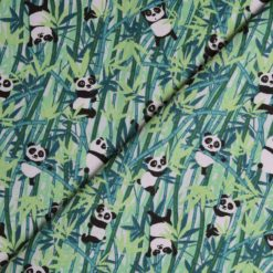Tissu coton imprimé panda vert