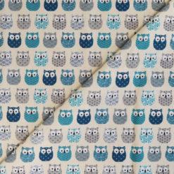 Tissu coton imprimé chouettes bleues