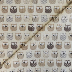 Tissu coton imprimé chouettes beige