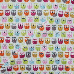 Tissu coton imprimé chouettes multico