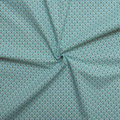 Tissu coton imprimé éventails aqua
