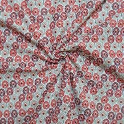 Tissu coton imprimé feather rouge
