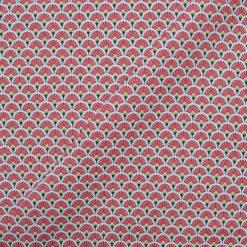 Tissu coton imprimé éventails rouges