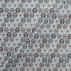 Tissu coton imprimé feather gris