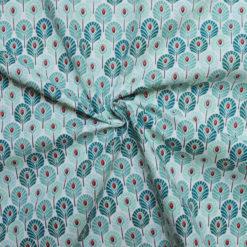 Tissu coton imprimé feather aqua