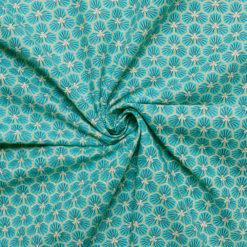 Tissu coton imprimé graphic aqua
