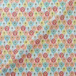 Tissu coton imprimé enfant plumes multocolores