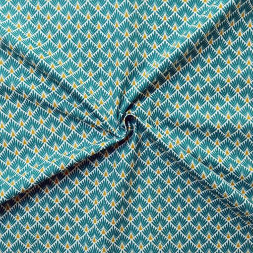 Tissu coton imprimé écailles pétrole
