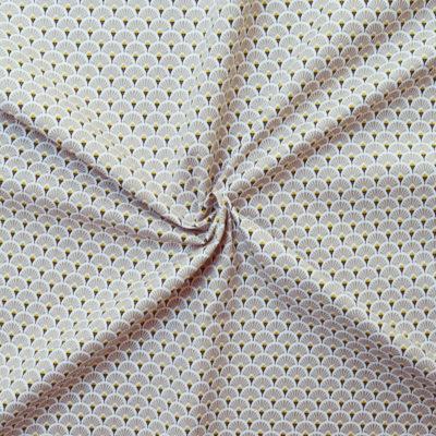Tissu coton imprimé éventails beiges